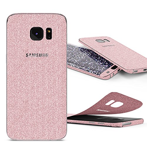 Urcover Glitzer-Folie zum Aufkleben Kompatibel mit Samsung Galaxy S7 Edge | Folie in Rosa | Handyskin Funkeln Schutzfolie Bling Glamourös