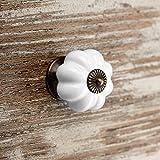 20 x Möbelknopf ANNA Ø 39 mm weiß mit brüniertem Sockel Knaufgriff Schrankknauf Porzellanknopf von SO-TECH®