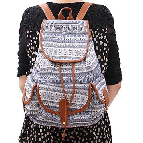 Kword Donna Vintage Canvas Backpack Zaino Cartella Da Scuola Viaggio Modacanvas Zaino Per Le Donne Ragazze Ragazzi Casual Book Bag Sport Pack Giorno H
