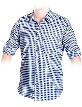 Trachten Hemd Blau, Kariertes Trachtenhemd Größe S bis 3XL