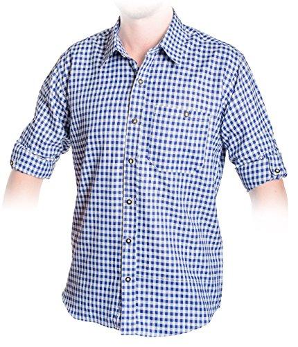 Trachten Hemd Blau, Kariertes Trachtenhemd Größe S bis 2XL (2XL, Blau)