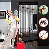 Hiveseen Cortina Mosquitera Magnética para Puertas, 120x220cm, Anti Insectos Moscas y Mosquitos, con 18 Imanes Cierre Automático y Velcro Adhesiva , para Puertas Correderas/Balcones/Terraza