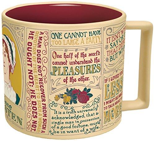 Jane Austen Kaffeetasse - Austens berühmteste Zitate und Darstellungen - kommt in einer lustigen...