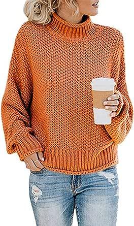Socluer Donna Autunno Invernali Eleganti Moda Pullover Abbigliamento Collo Alto Baggy Monocromo Manica Lunga Maglioni Oversize Maglie Casual Modern Stile