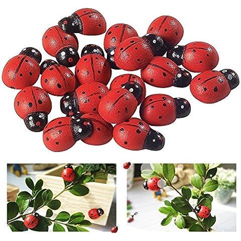 100PCS adorable Diversión expresos autoadhesivas mariquitas de madera que decoran la artesanía