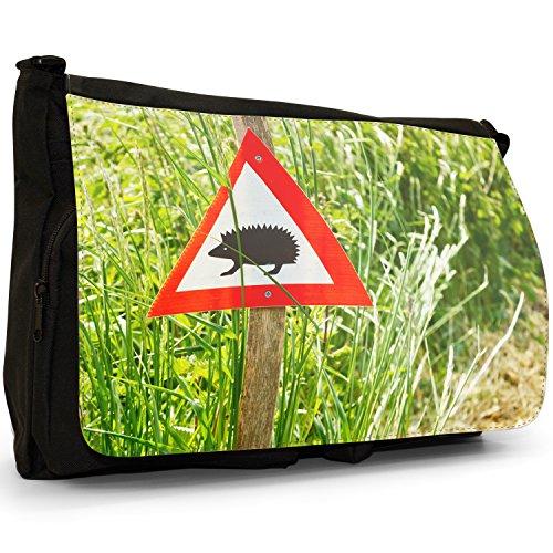 Puntura Riccio–Borsa Tracolla Tela Nera Grande Scuola/Borsa Per Laptop Hedgehog Crossing Sign