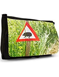Preisvergleich für Stacheliger Igel Große Messenger- / Laptop- / Schultasche Schultertasche aus schwarzem Canvas