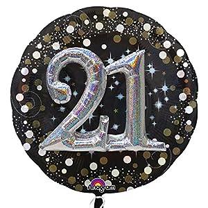 Amscan International 3451201 - Globo de Papel de Aluminio con Texto Sparkling Birthday 21 Multi (36 Pulgadas)