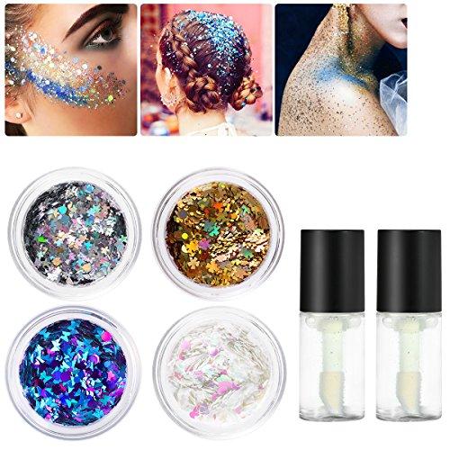 PIXNOR Chunky Glitzer, Funkeln Glitzer, Make-Up / Kosmetik Glitter mit Gel für Gesicht, Körper, Lidschatten, Nägel Kunst oder Haare (4 Farben)