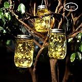 4 Paquets Lumières du Jardin Solaire,Pots Mason Avec Couvercles Insert Pour la Décoration de L'éclairage Intérieur Extérieur. (4 Paquets, Blanc Chaud)