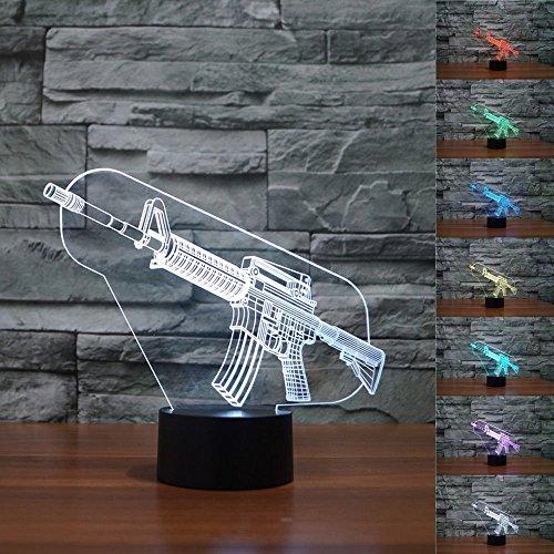 LED Nachtlicht Magical 3D Gun Visualisierung Amazing Optische Täuschung Touch Control Light 7 Farben ändern für Kinderzimmer Home Decoration Best Geschenk -