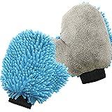 SEG Direct Ultra Weicher Chenille & Korallen Samt Waschhandschuh 2er Pack - Starke Reinigungskraft für Auto Innen- und Außenbereich und Haushalt