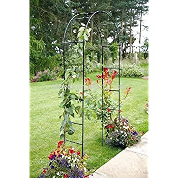 Garden Mile® Large 2.4M Black Metal Garden Arch Heavy Duty Strong Tubular  Arbour For