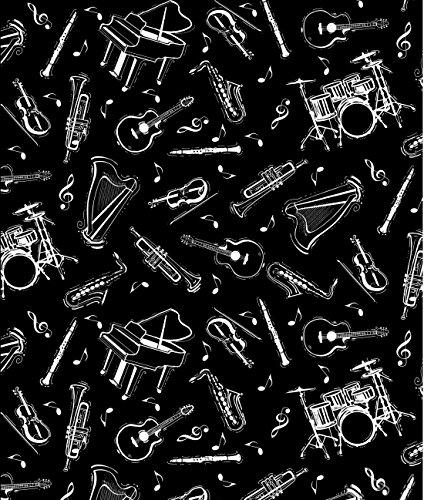 musica-tela-por-la-mitad-rhinocables-50-cm-x-110-cm-100-algodon-bla24-musical-instruments-on-black