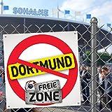 Dortmunder FREIE-Zone 3er-Set | XXL-Aufkleber | Schützt Schalke-, Bayern- & Fußball-Fans vor Dortmund-Fan infizierten | Einfach mehr Spaß im Alltag | Warnschild - Türschild - Öffnungszeitenschild
