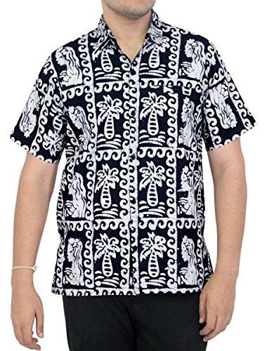 LA LEELA Strand Hawaiihemd Herren XS - 5XL Kurzarm Front-Tasche Hawaii-Print Casual Button Down Hemd Navy Blue Navy Blau