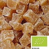 Zenzero a cubetti piccante bio 1kg, gustoso zenzero essicato e candito, senza solfiti, da coltivazione biologica controllata