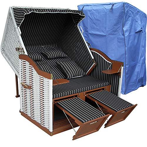 Strandkorb weiß grau XXL für Balkon inkl Strandkorb Abdeckung - anthrazit grau mit weißem Polyrattan und braunem Holz, Form Ostsee Strandkorb
