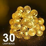 CMYK 2. Globe Lichterkette, 6 m, 30 Kristallkugeln, Wasserdichte LED-Lichterkette, für den Außenbereich, solarbetrieben, dekorative Beleuchtung für Zuhause, Garten, Party, Festival, Warmweiß