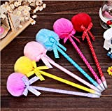 EQLEF® 4 Stück kreative nette Mädchen-Geschenk & Bow-Pelz-Kugel-Feder-Kappe u Tragbare Kugelschreiber (zufällige Farbe)
