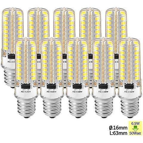 Sunix 10pcs 6.5W E14 LED, 2835 72 LED SMD, 50W alogene lampadine equivalenti, 280-300LM, non dimmerabile, Pure White, 6000K, 360 gradi angolo del fascio, silicone Corn lampadina SU160