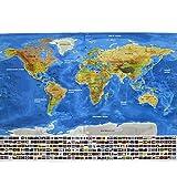 YULAN YULAN-PVC Flagge Karte wasserdicht Weltkarte große große Karte der Welt Poster mit Land Flaggen neu (Multi-Color)