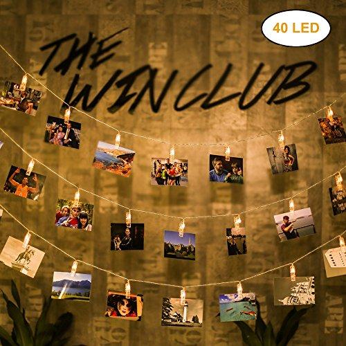 Lnkey foto clip catena luminosa,40 molletta led per foto 5m batteria alimentato per decorazione da appendere foto, note, cartoline, matrimonio feste, compleanno (bianco caldo)