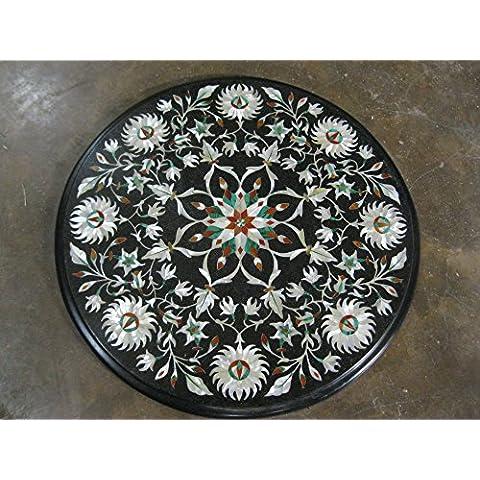 """14""""Nero, pietre semi preziose intarsiato forma rotonda tavolino divano tavolino home office Decor marmo tavolo"""