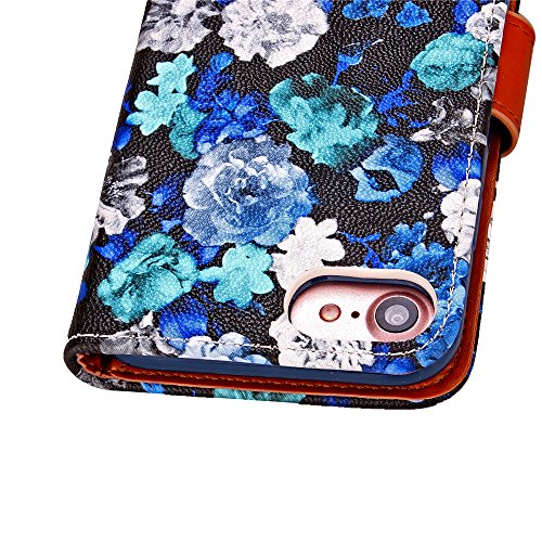 iPhone 7 Coque Glitter,iPhone 7 Coque Souple,iPhone 7 Coque Cuir,iPhone 7 Coque Fleur Etui,iPhone 7 Leather Case Wallet Flip Protective Cover Protector,iPhone 7 Coque Portefeuille PU Cuir Etui,EMAXELE Flower 3