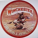 Winchester Cowboy Western targa placca metallo piatto Nuovo 30x30cm VS652