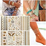 Eulan Temporary Temporary Tattoos for Women Teens Girls 8 Sheets Assorted Metallic Temporary Tattoos Flash Temporary Jewellery Tattoos