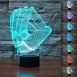 3D Baseball Handschuh Glühen LED Lampe 7 Farben erstaunliche optische Täuschung Art Skulptur Ferneinstellung Lichter produziert einzigartige Lichteffekte und Decor-kreative Geschenk