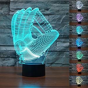 3D Baseball Handschuh Glühen LED Lampe 7 Farben erstaunliche optische...