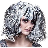 Bianco e nero Halloween Zombie e fantasma parrucca con decoro rose
