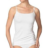 Confezione da 2 o 4 canottiere da donna con o senza pizzo, nero o bianco, con spalline elastiche in cotone pettinato al…