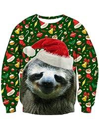 chicolife Weihnachts Pullover, Herren Gráfico Pullover hässlich Sweatshirt Sweater lustige 3D gedruckt Xmas grafische Santa Sweatshirts S-XXL
