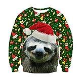 ChicolifeUnisex hässlich Weihnachten Faultier Dekoration drucken personalisierte Weihnachts Pullover Pullover Sweatshirt für junge Mädchen