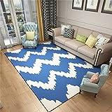 QAZ Hochwertige Super weiche Decke Nordic Wind geometrische Wohnzimmer Sofa Couchtisch Wolldecke Einfache, moderne Schlafzimmer rechteckige Bett Fußbodenbelag (Blue Wave Pattern) Nordischen Designer Rutschhemmende Nicht reizend Teppich (Größe: 140 * 200 cm)