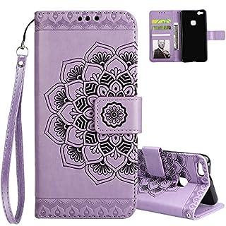 Aeeque Huawei P10 Lite Leder Hülle,Staubdicht Klapphülle Cover Case,Elegant Mandala Muster Schutzhülle,Magnetverschluss Kartenfach Ständer Handytasche mit Weich Silikon Innere Schale, Lila