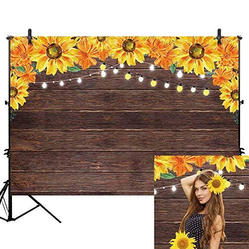 xtur Graduierung Hintergrund Sonnenblume Braun Rustikal Holzbrett Licht Porträtfotografie Neugeborenes Baby Dusche 1. Geburtstagsfeier Banner Kuchen Dessert Tisch Dekore ()