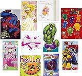 Kinder Geburtstagskarten mit beliebten Kinderfiguren, 10 Stück