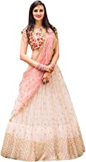 Surat4Fashion Women's Embroidered Pink net Lehengas Choli(NT01_Pink_FreeSize)