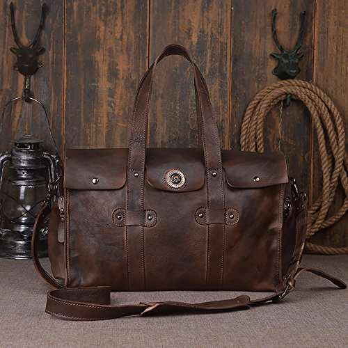 Handmade Men 100% Vegetable Tanned Genuine Leather Travel Shoulder Bag Dark Brown
