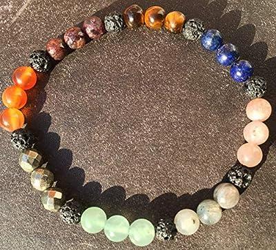 bracelet CHEMIN DE VIE lithothérapie personnalisé Pierre de Lave et perles de pierre Naturelles semi-précieuses