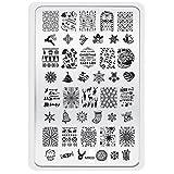 XLORDX Nail Art Plates Stamping Nagel Bildstempel Schablone Metallplatten Nagel Tattoo Manicure Weihnachtsmann Weihnachten Schneeblume XMAS DIY MR03