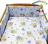 Blueberryshop Lit Bébé Housse de couette et taie d'oreiller Parure de lit, 150x 120cm, ours Bleu, 2pièces