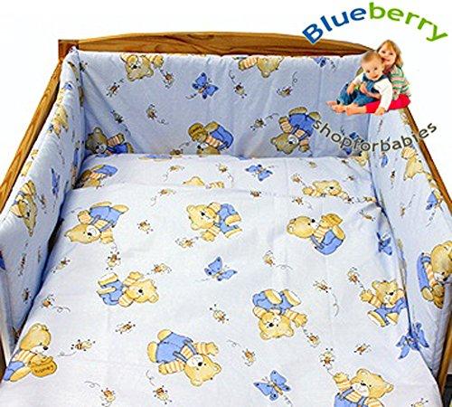 """Preisvergleich Produktbild BlueberryShop 2 tlg BABY BETTWÄSCHE SET KINDERBETTWÄSCHE BETTSET BETTDECKE+KISSENBEZÜGE 90 x 120 cm (35.5"""" x 47"""") ( 0-7Yrs ) ( 120 x 90 cm ) Blau 1"""