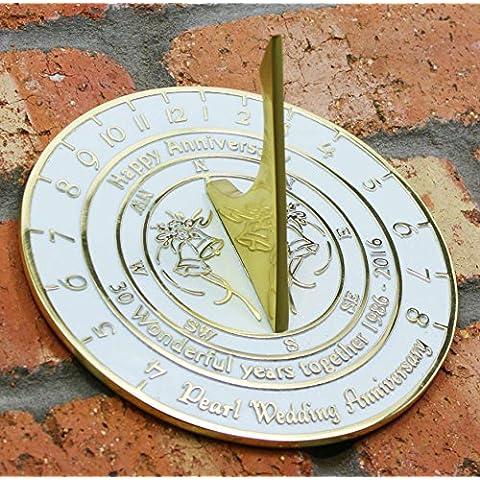 Reloj de sol para aniversario de bodas, con versiones de plata, perla, rubí u oro, hecho a mano, metal, Pearl Wedding