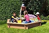 Gartenpirat Sandkasten 6-eckig aus Holz Lärche unbehandelt  230 cm mit Plane