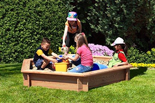 Gartenpirat Sandkasten 6-eckig aus Holz Lärche unbehandelt Ø 230 cm
